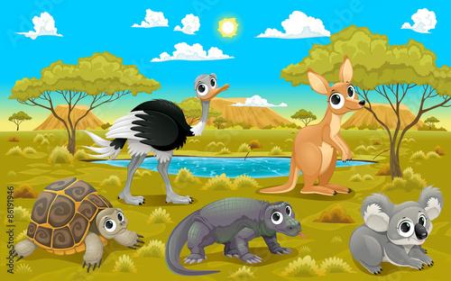 Poster Chambre d enfant Australian animals in a natural landscape