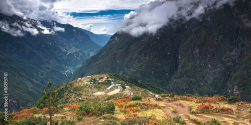 Foto op Aluminium Heuvel A beautiful village in Himalayas - Namche Bazaar (3,500 m) surrounded by hills and mountains. Nepal, Everest National Park.