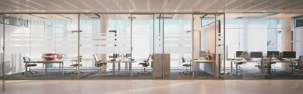 panorama view inside office in skyscraper