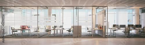 plakat widok na panoramę wewnątrz biura w wieżowcu