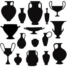 Vase Set. Pot Pottery Vases Greek Home Interior Greece Decoration. Vector Icon Collection.