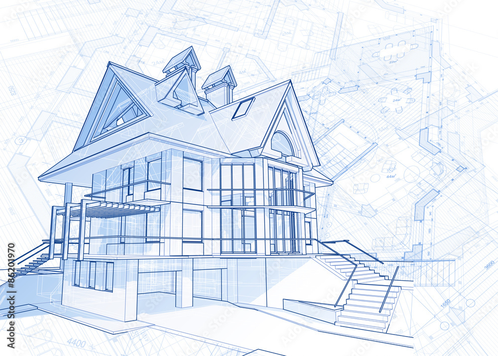 Photo art print architecture blueprint house draw plans photo art print architecture blueprint house draw plans vector illustration abposters malvernweather Image collections