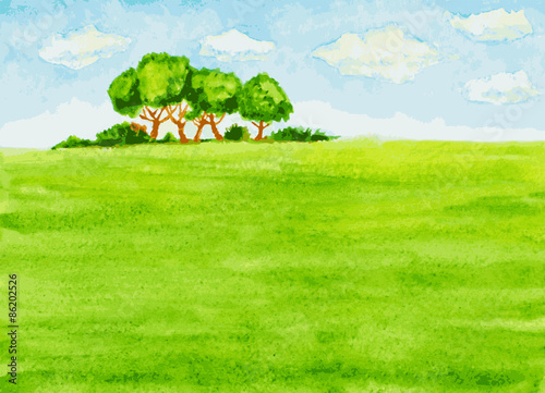 In de dag Lime groen watercolor landscape with trees, green field and sky. vector ill