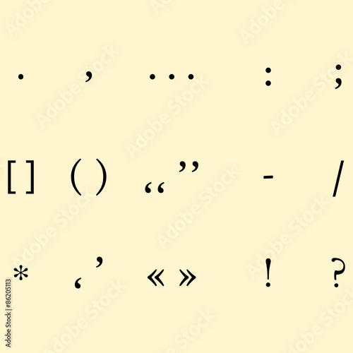 Fotografie, Obraz set of different punctuation marks on krasifom background. vecto