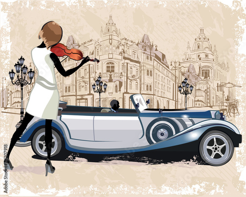Vintage background with a retro car and musicians, old town