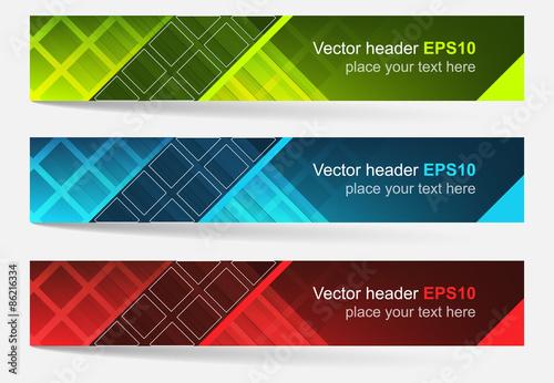 Fototapeta Web header, set of vector banner with square pattern - three color variations obraz