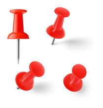 Red Push Pins Isolated On Whit...
