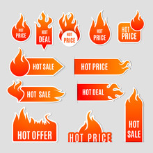 Fire Sale Flat Icon Set