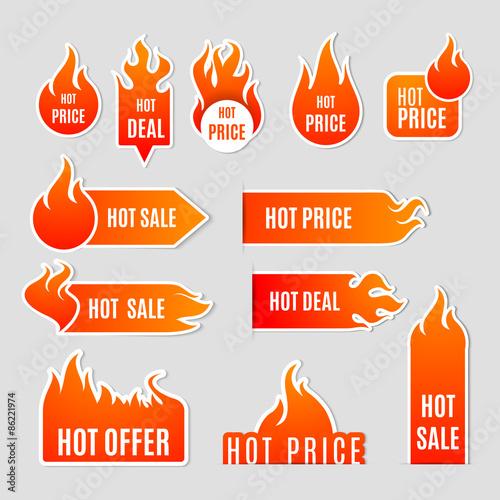 Fotografering  Fire Sale Flat Icon Set