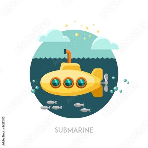 Láminas  Submarine. Vector illustration.