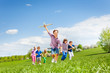 canvas print picture Happy cute boy with plane toy and chasing him kids