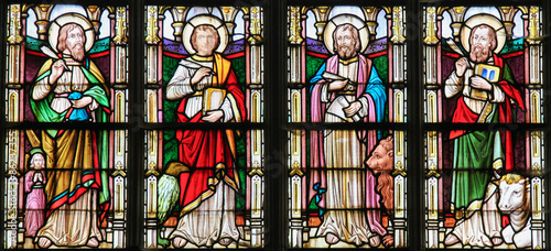 Stained Glass depicting the Four Evangelists Wallpaper Mural