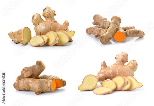 Fototapeta ginger and turmeric on white background obraz