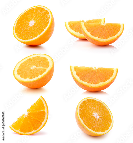 Half orange fruit on white background Fotomurales