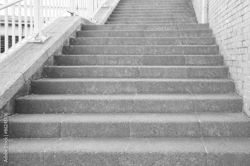 Poster Trappen Long outdoor concrete stairs at public park..