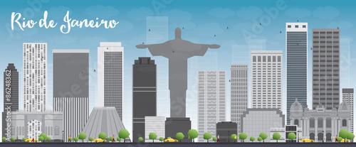 Rio de Janeiro skyline with grey buildings and blue sky Canvas Print