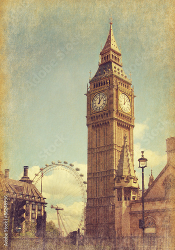 Foto op Canvas Londen Big Ben, London, UK. View from Abingdon street. Photo in grunge and retro style. Added paper texture
