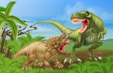 Fototapeta Dinusie - T Rex Triceratops Dinosaur Fight Scene