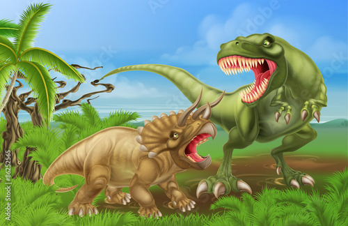 Photo  T Rex Triceratops Dinosaur Fight Scene