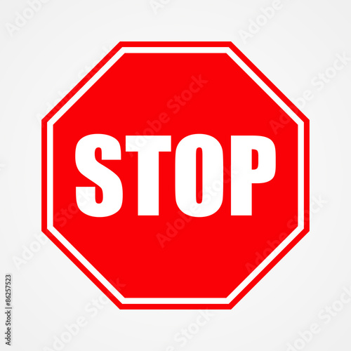 Cuadros en Lienzo  Sign stop red vector illustration