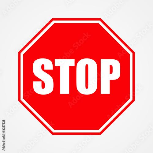 Fotografie, Obraz  Sign stop red vector illustration