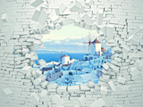 Fototapeta Perspektywa 3d - behind the wall