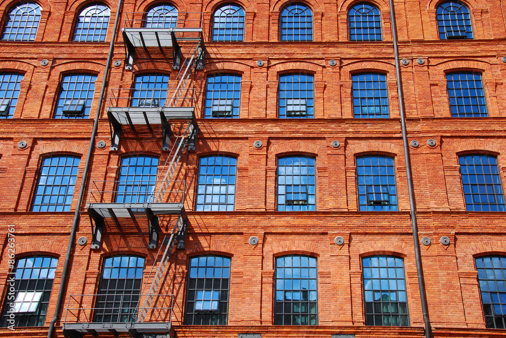 old brick factory building in Lodz