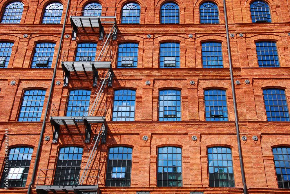 Fototapeta old brick factory building in Lodz