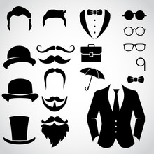 Gentleman Icon Set. Vector Art.