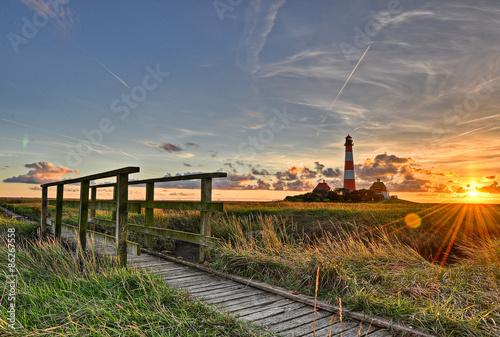 Foto op Plexiglas Vuurtoren Westerhever Leuchtturm