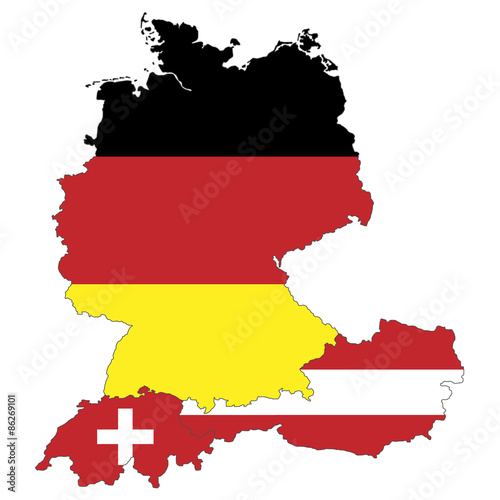 Fotografie, Obraz  Deutschland, Österreich und Schweiz als Flagge
