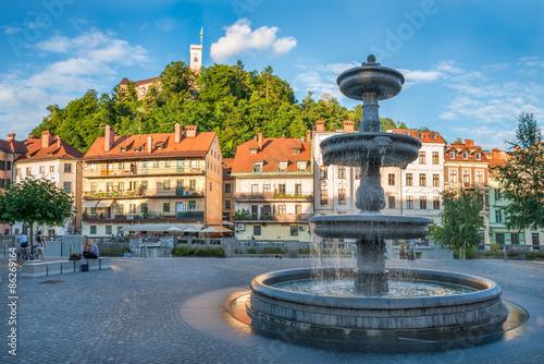 Panorama of Ljubljana, Fountain and Castle, Slovenia, Europe. Cityscape of the Slovenian capital Ljubljana.