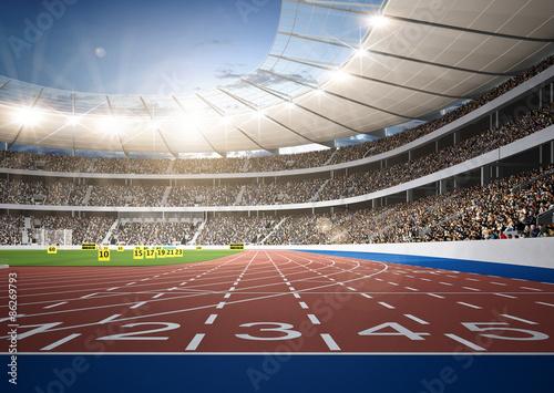 Fotografie, Obraz  Stadion Leichtathletik Sprintstrecke