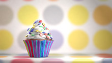 Delicious Cupcake With Smarties On A Whipped Cream. Colored Disks Background. Copy Space