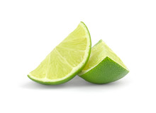 Fresh Lime Wedge Isolated On A...