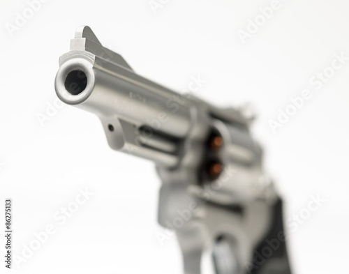 Photo  Sm 357 Magnum Revolver isolated on White Shallow Focus