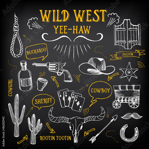 Wild west design sketch. Icons drawing vintage elements. Poster