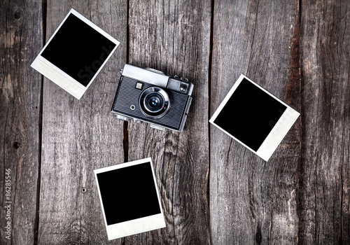 Photo  Camera and polaroid photos