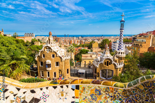 Tuinposter Barcelona Park Guell in Barcelona, Spain