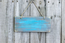 Blank Rustic Teal Blue Wooden Sign