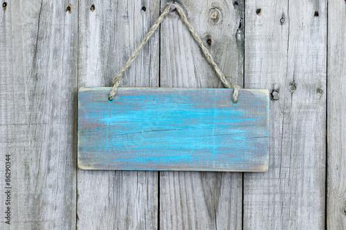 Fotografía  Blank rustic teal blue wooden sign