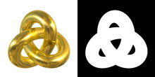 Golden Gordian Knot Sign, Reflection Of Sky - Gold/metal Symbol Isolated On White Background   Alpha Mask.