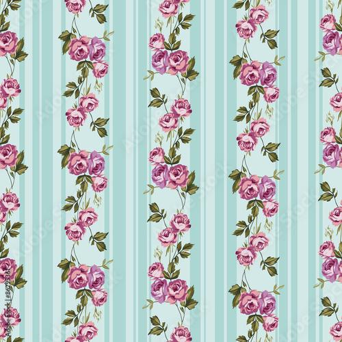 kwiaty-roz-na-pasiastym-tle-utrzymana-w-stylu-retro