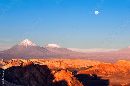 Photo  Volcanoes Licancabur and Juriques, Moon Valley, Atacama, Chile