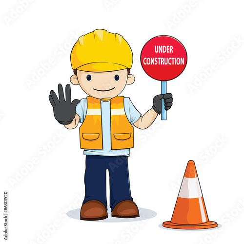 Worker With Under Construction Sign Cartoon Buy This Stock Vector And Explore Similar Vectors At Adobe Stock Adobe Stock