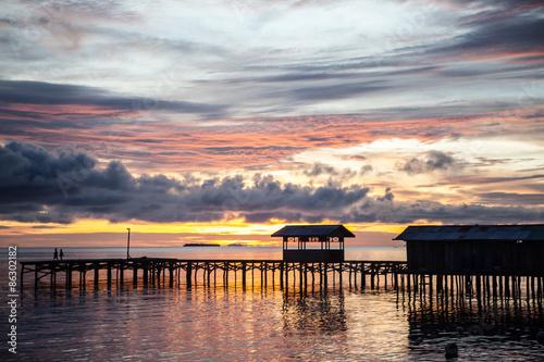 Aluminium Prints Indonesia Remote Pier at Village in Raja Ampat, Indonesia