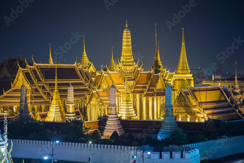 Wat Phra Kaew, Temple of the Emerald Buddha,Grand palace at twilight in Bangkok, Wallpaper Mural