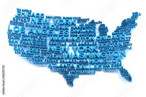 USA map formed by names of major cities #86305705
