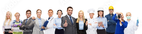 happy businessman over professional workers Wallpaper Mural