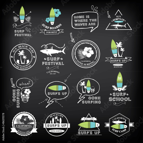 Photo  Surfing summer icons,vector labels collection.